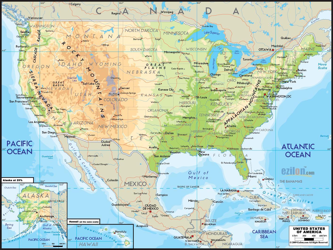 Amerika Kart Med Usa Kartet Av Stater I Amerika Nord