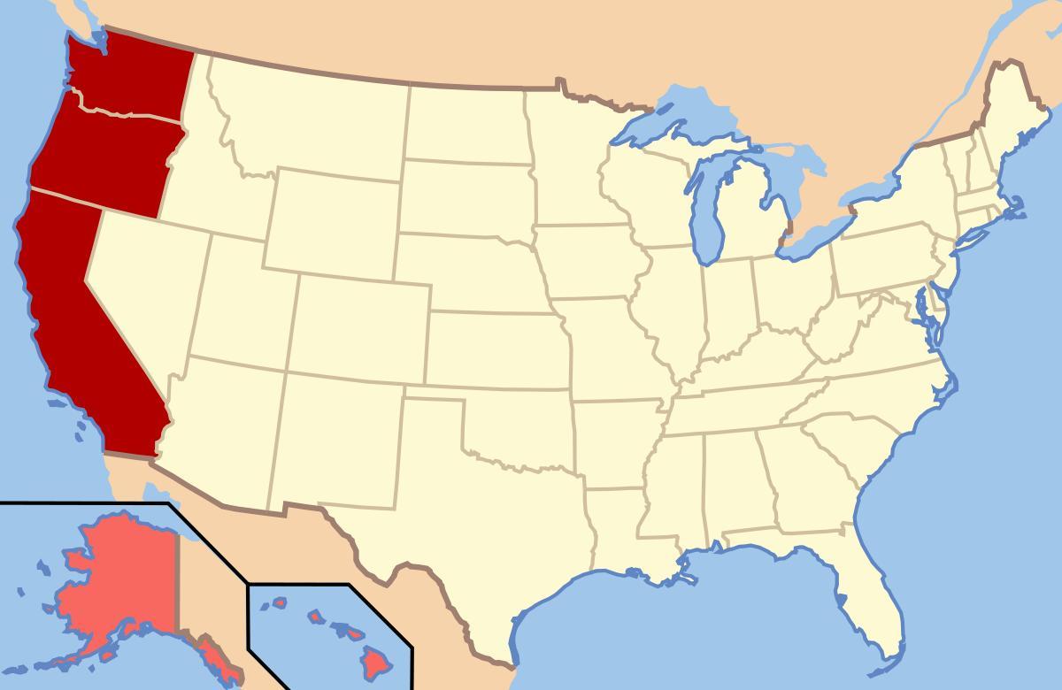 kart usa vest Kart over nord vest USA   Kartet nord vest USA (Nord Amerika  kart usa vest