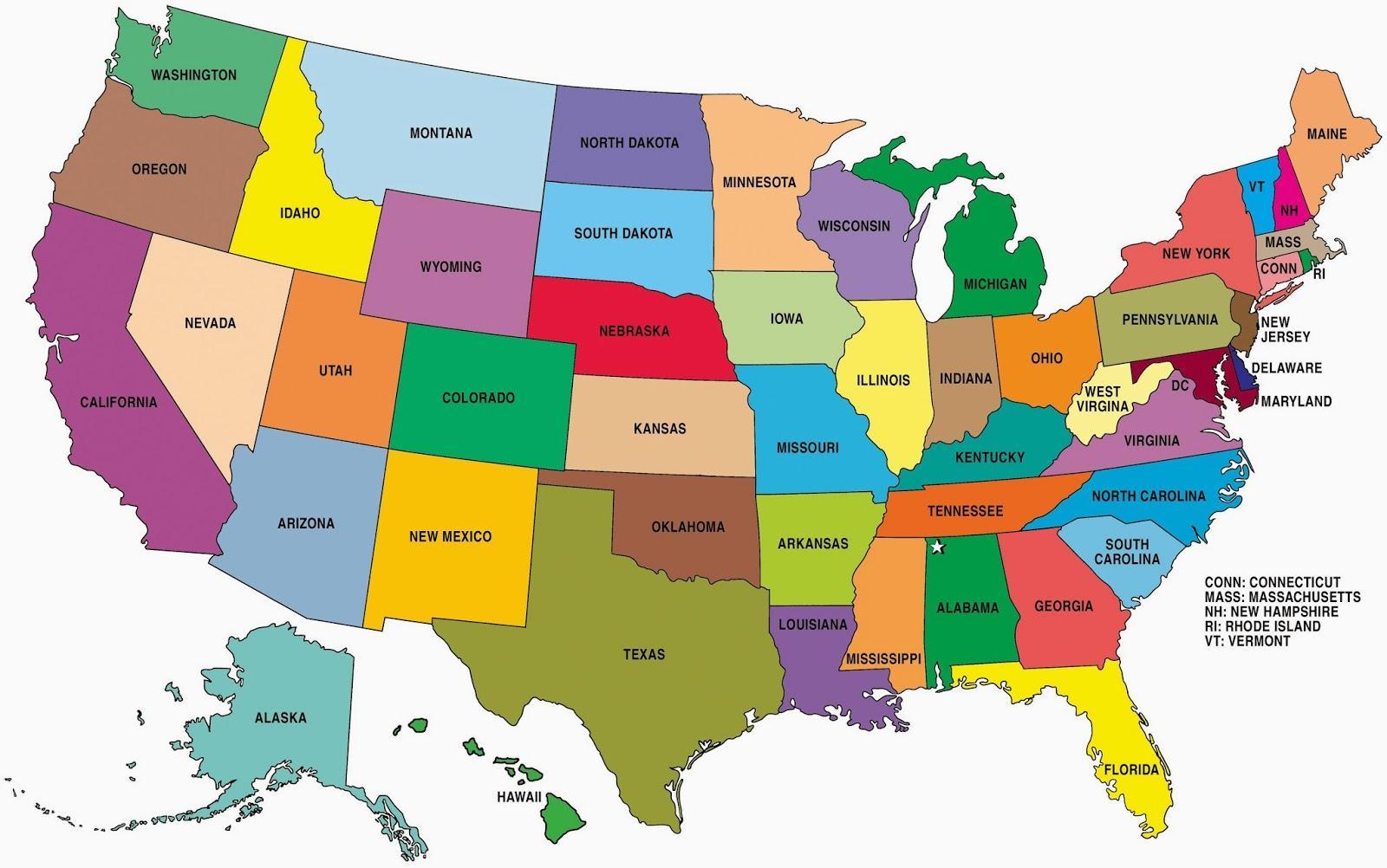 usa kart over statene Kart over Stater i USA   Kartet av Statene i USA (Nord Amerika