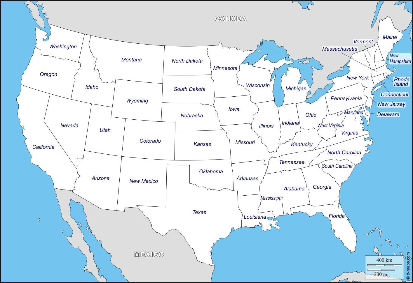 Kart Over Usa Med Navn Pa Stater Kart Over Usa Med Navn Pa