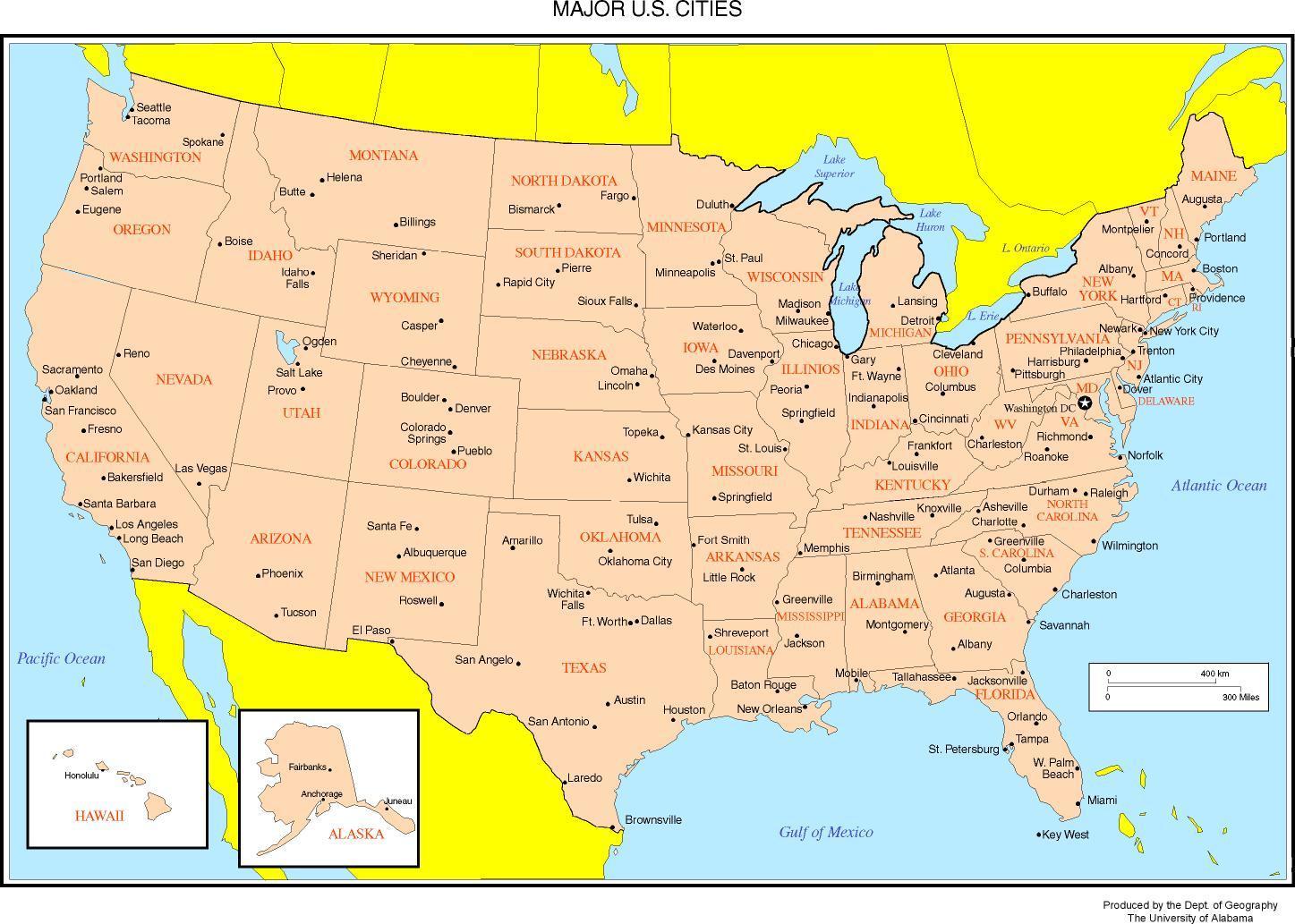 usa kart med byer Kart over USA som viser byer   Kart over USA viser større byer  usa kart med byer