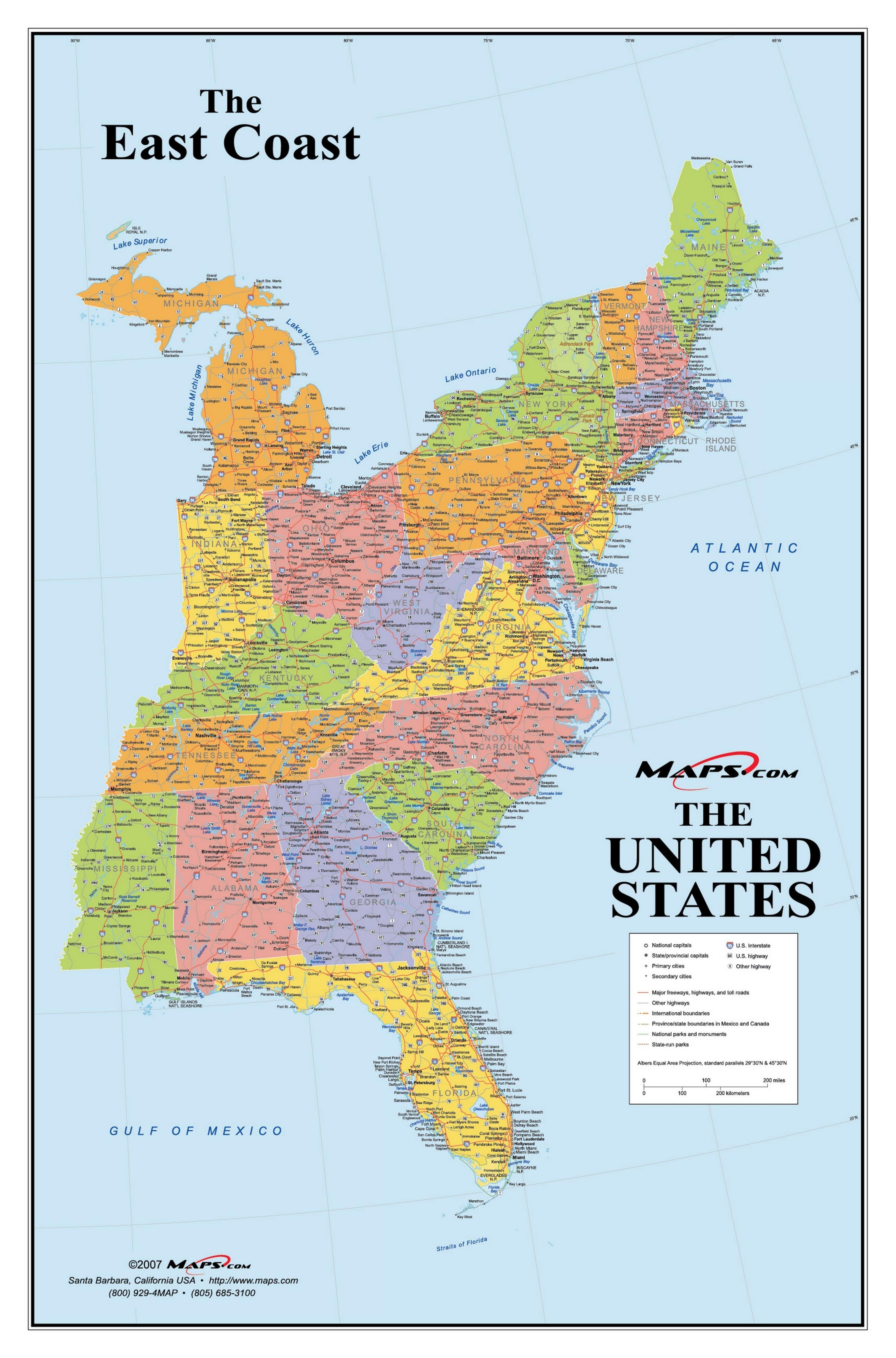 Usa Ostkyst Kart Kart Over Amerikanske Ostkysten Nord Amerika