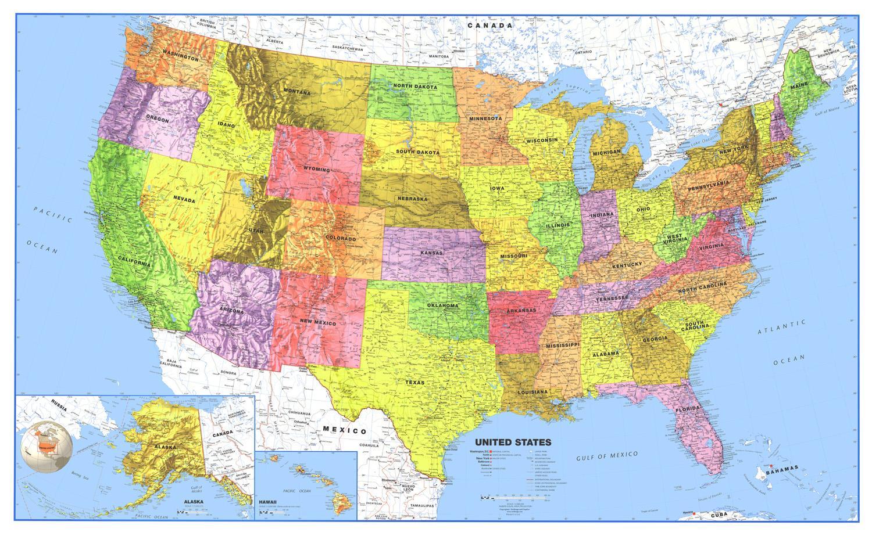 Usa Kartet Med Hav Usa Ocean Kart Nord Amerika Amerika