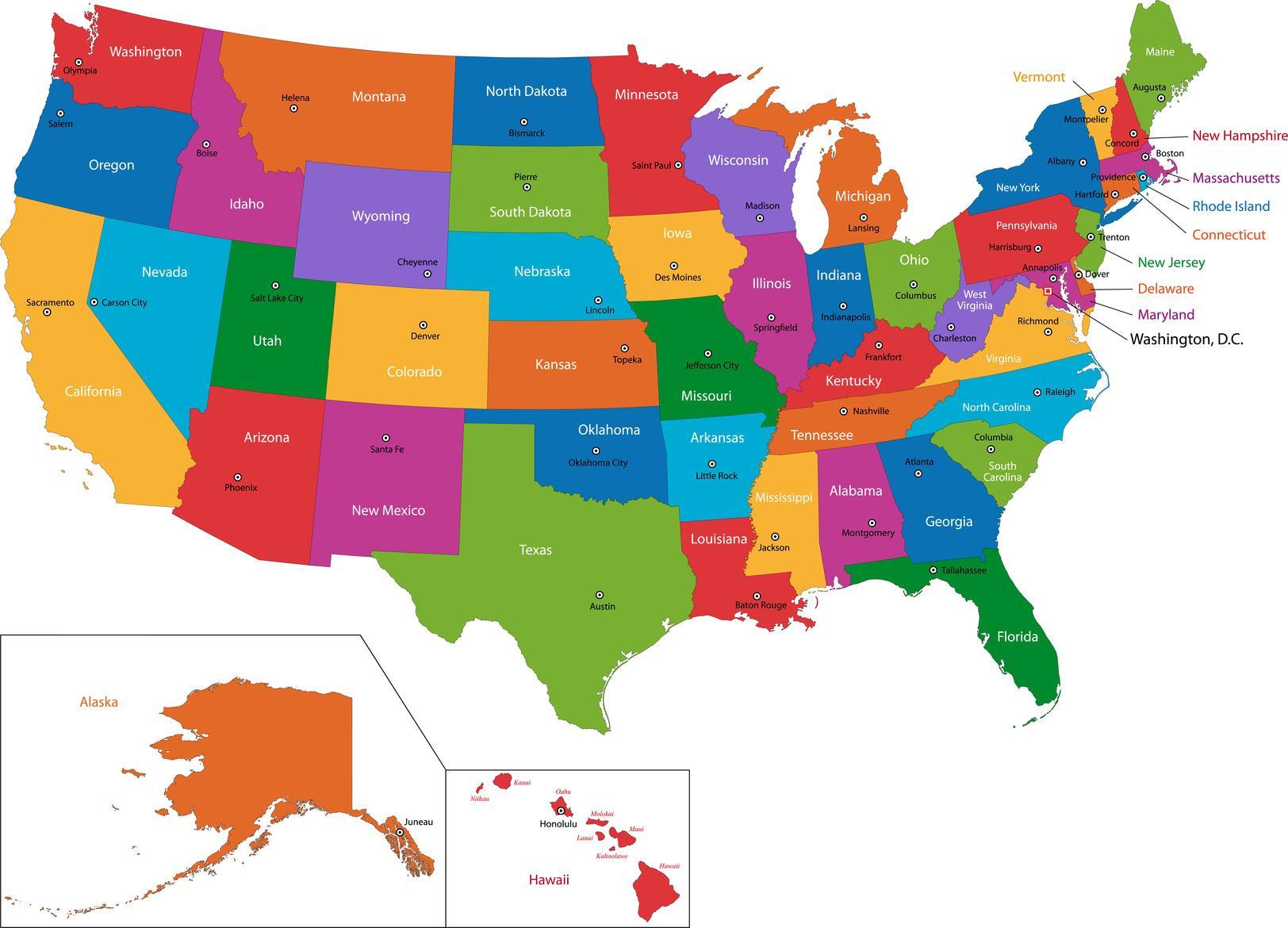 kart over usa med stater Usa kartet med Stater og hovedsteder   Kart over Usa med store  kart over usa med stater