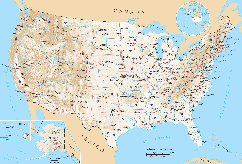 usa kart USA veier kart   USA kart veier (Nord Amerika   Amerika) usa kart