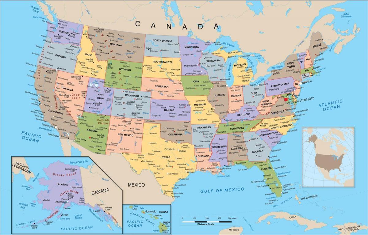 amerikansk kart AMERIKANSKE politiske kartet   USA politiske kartet (Nord Amerika  amerikansk kart