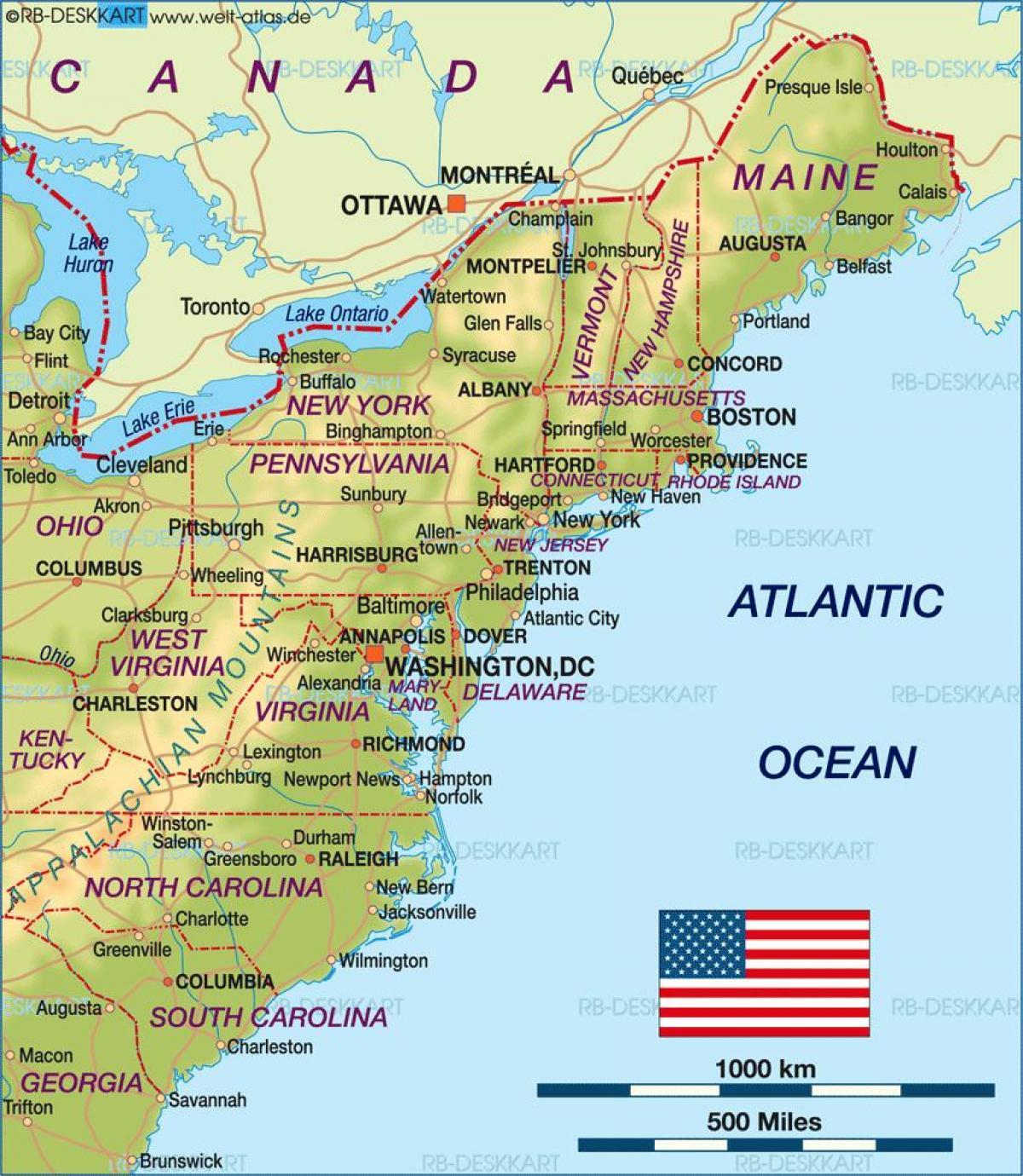 Kart Over Ost Kysten Av Usa Kartet Av Usa Ostkyst Nord Amerika