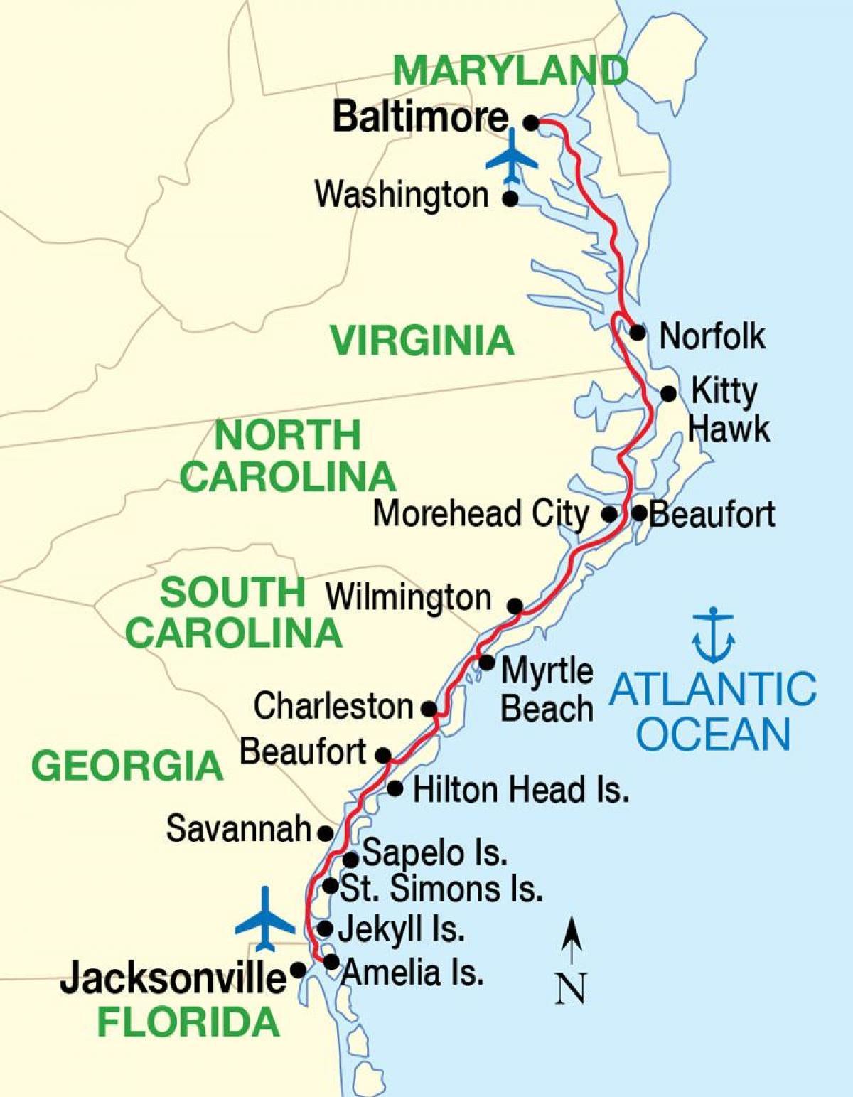 Bildegalleri Av Kart Usa Ostkyst