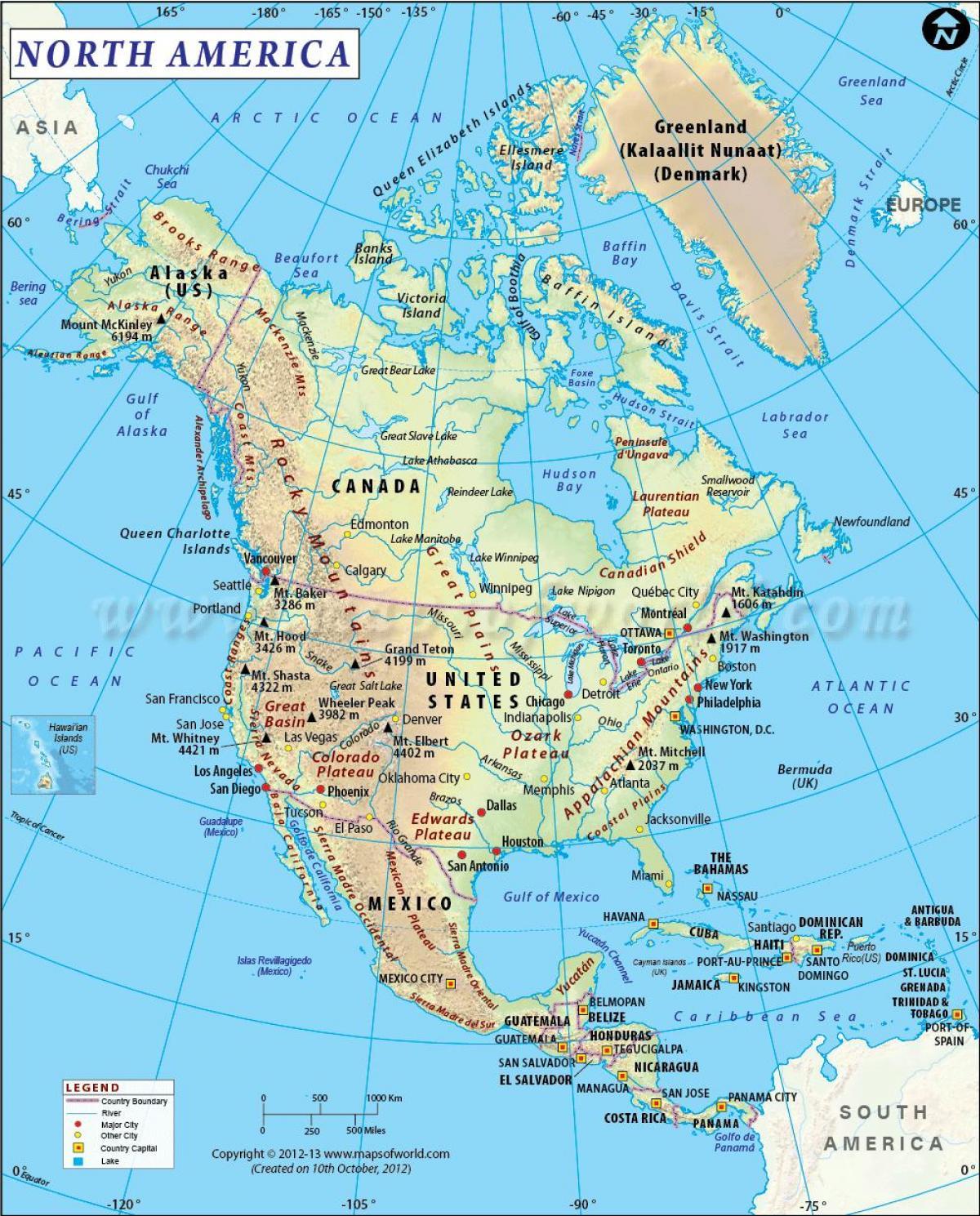 nord amerika kart Nord Amerika som region   Nord amerika kart (Nord Amerika   Amerika) nord amerika kart