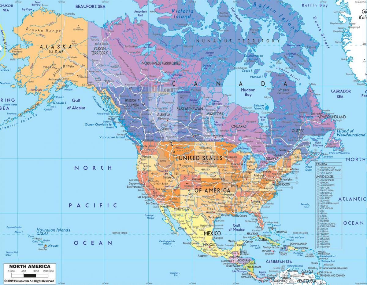 Nord Amerika Stater Kart Nord Amerika Kart Stater Nord Amerika