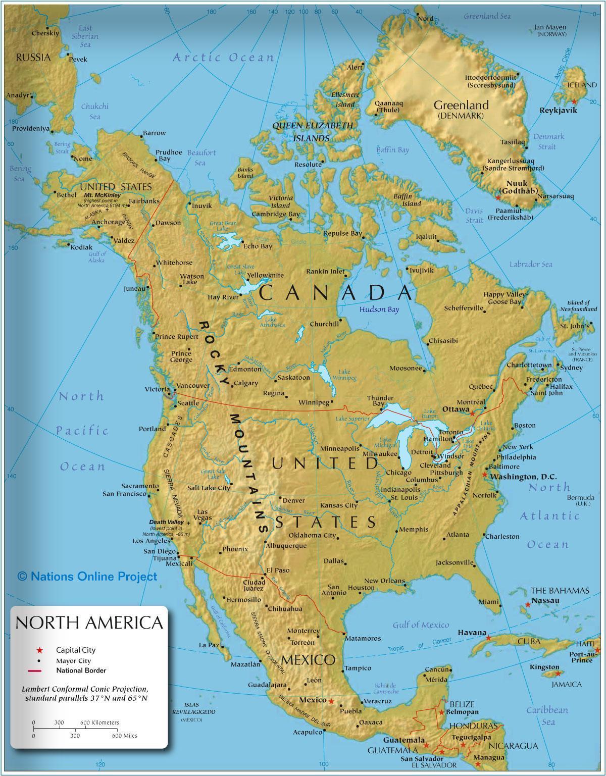 Vest Amerika Kart Kart Over Vest Amerika Nord Amerika Amerika