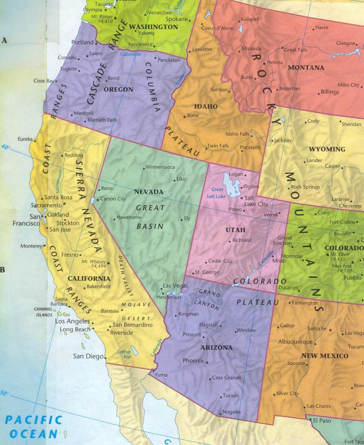 kart usa vest Western OSS kart   Kart over vest USA (Nord Amerika   Amerika) kart usa vest